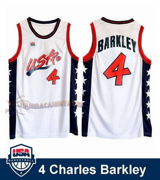 De Alta Calidad Camisetas NBA 1996 USA Charles Barkley 4 Blanco