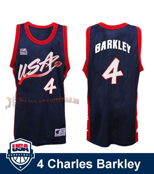 De Alta Calidad Camisetas NBA 1996 USA Charles Barkley 4 Negro