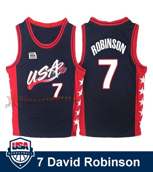 De Alta Calidad Camisetas NBA 1996 USA David Robinson 7 Negro