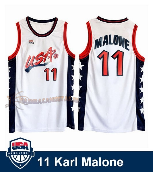 De Alta Calidad Camisetas NBA 1996 USA Karl Malone 11 Blanco