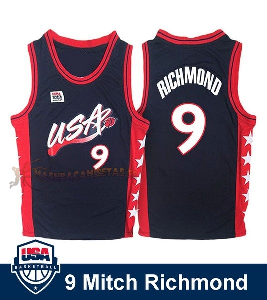 De Alta Calidad Camisetas NBA 1996 USA Mitch Richmond 9 Negro