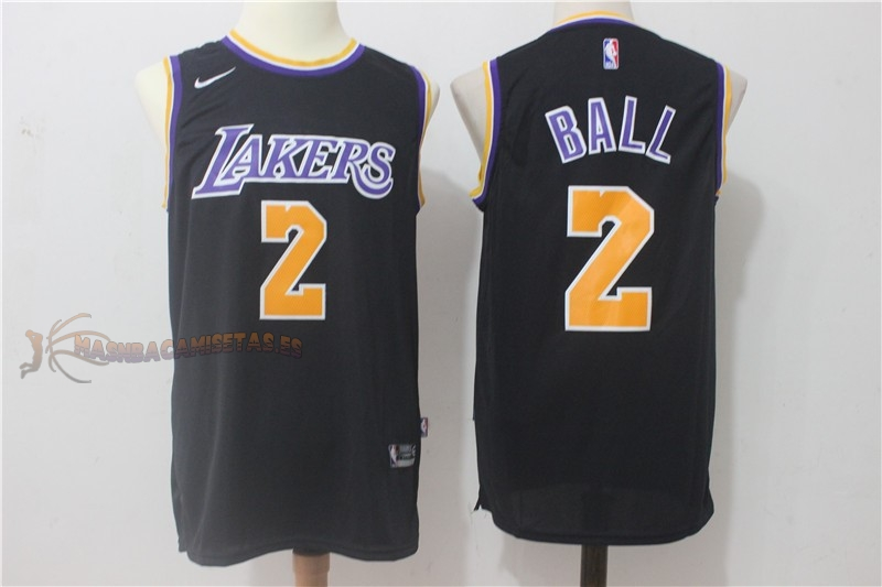 De Alta Calidad Camisetas NBA Nike Los Angeles Lakers 2 Lonzo Ball Negro
