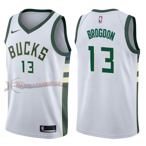 De Alta Calidad Camisetas NBA Nike Milwaukee Bucks 13 Malcolm Brogdon Blanco Association