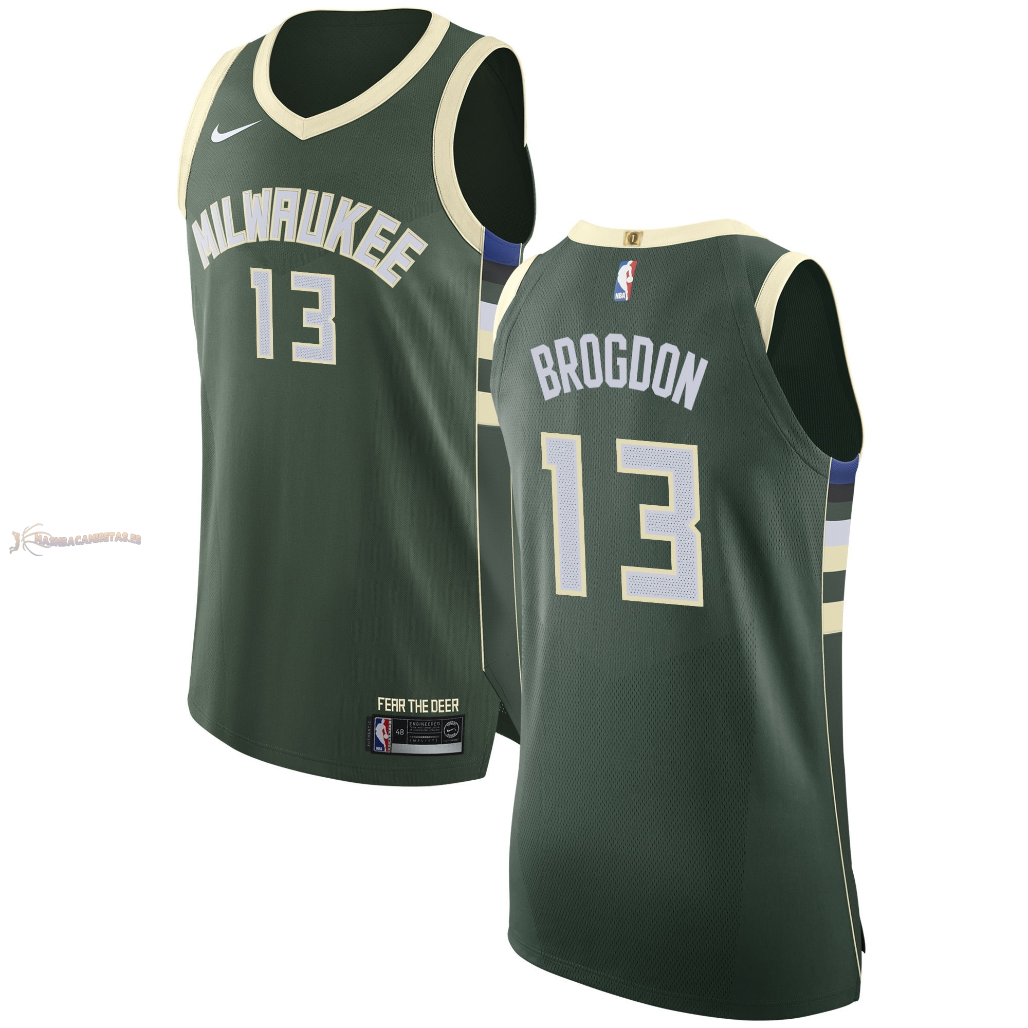 De Alta Calidad Camisetas NBA Nike Milwaukee Bucks 13 Malcolm Brogdon Verde Icon