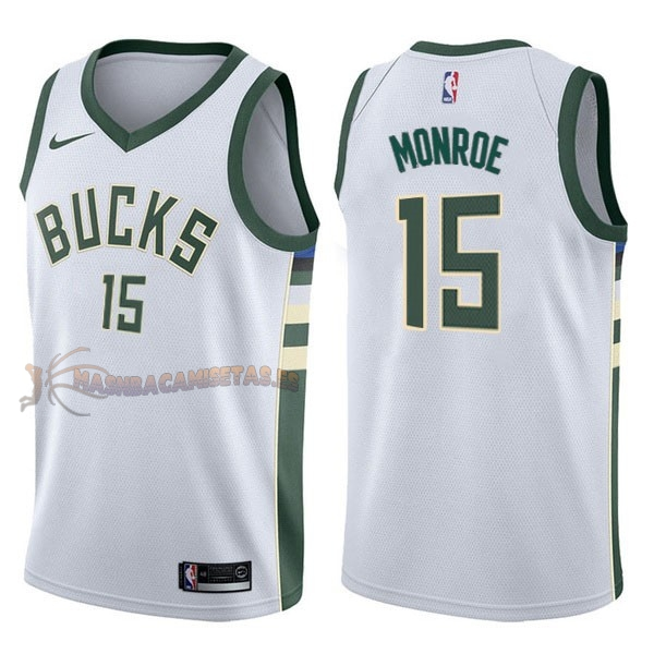De Alta Calidad Camisetas NBA Nike Milwaukee Bucks 15 Greg Monroe Blanco Association