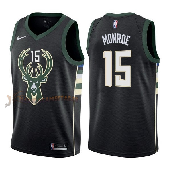 De Alta Calidad Camisetas NBA Nike Milwaukee Bucks 15 Greg Monroe Negro Statement