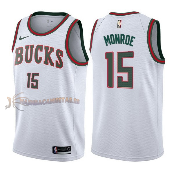 De Alta Calidad Camisetas NBA Nike Milwaukee Bucks 15 Greg Monroe Retro Blanco