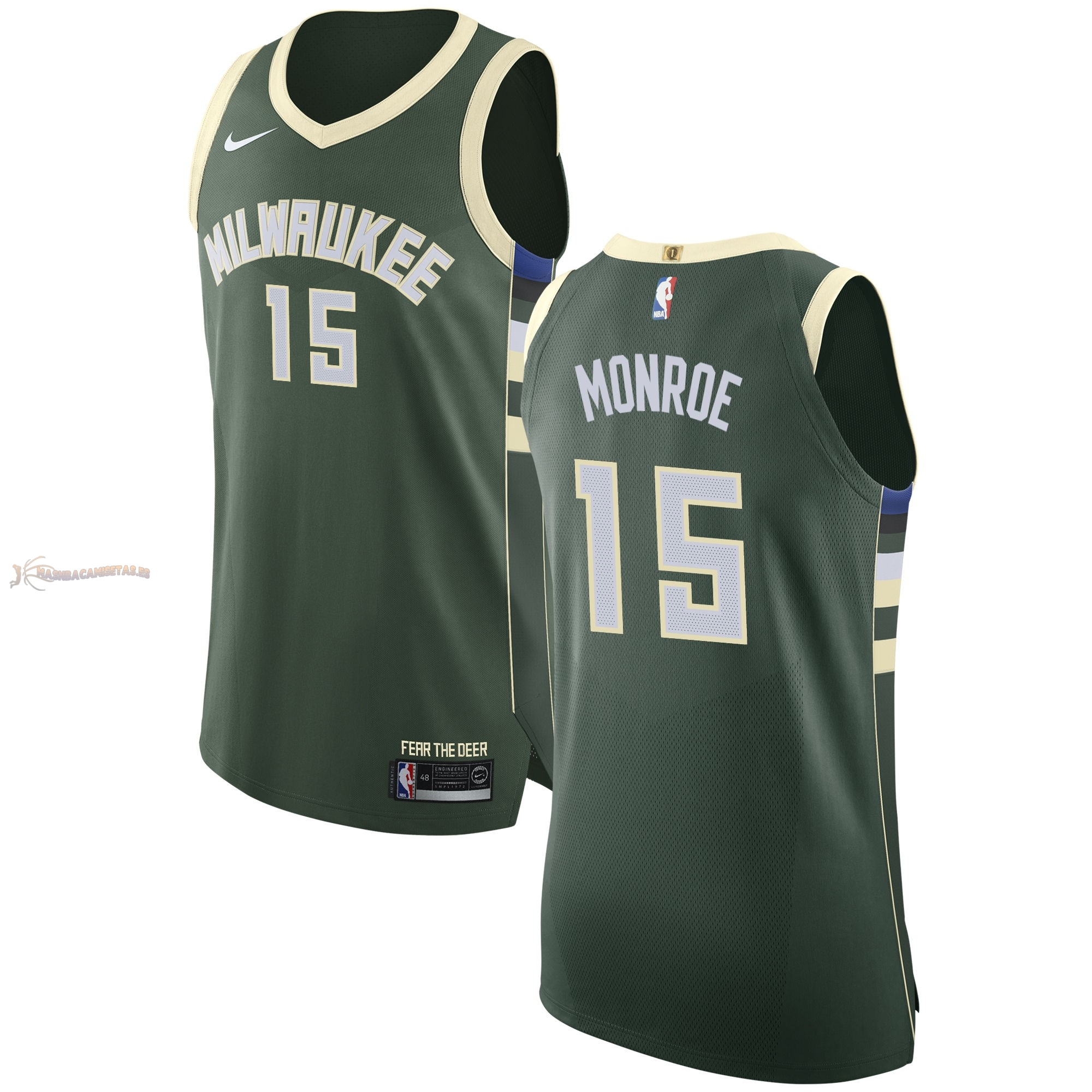 De Alta Calidad Camisetas NBA Nike Milwaukee Bucks 15 Greg Monroe Verde Icon