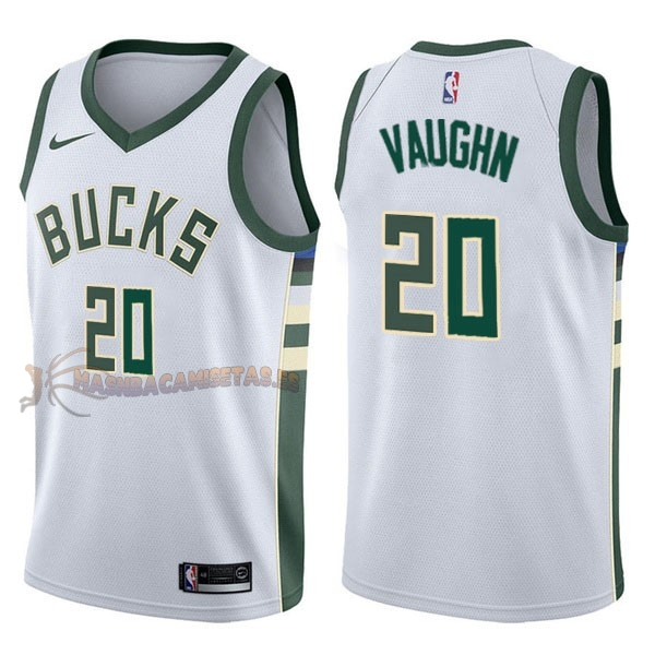 De Alta Calidad Camisetas NBA Nike Milwaukee Bucks 20 Rashad Vaughn Blanco Association