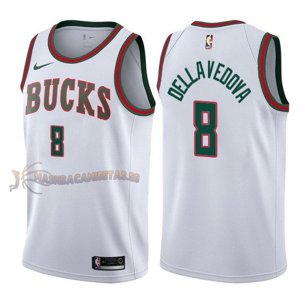 De Alta Calidad Camisetas NBA Nike Milwaukee Bucks 8 Matthew Dellavedova Retro Blanco