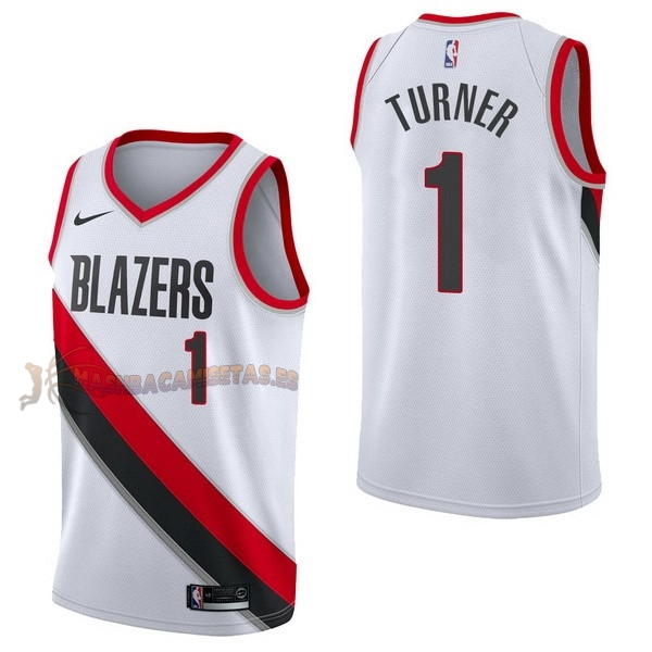 De Alta Calidad Camisetas NBA Nike Portland Trail Blazers 1 Evan Turner Blanco Association