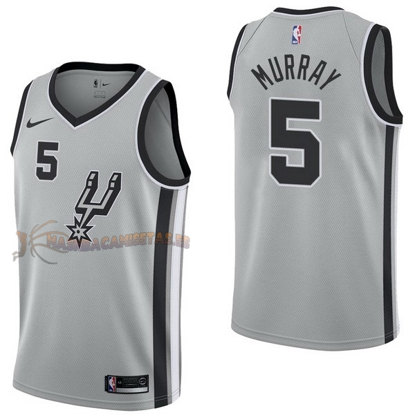 De Alta Calidad Camisetas NBA Nike San Antonio Spurs 5 Dejounte Murray Gris Statement