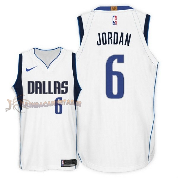 De Alta Calidad Camisetas NBA Nike Dallas Mavericks 6 DeAndre Jordan Blanco Association 2018