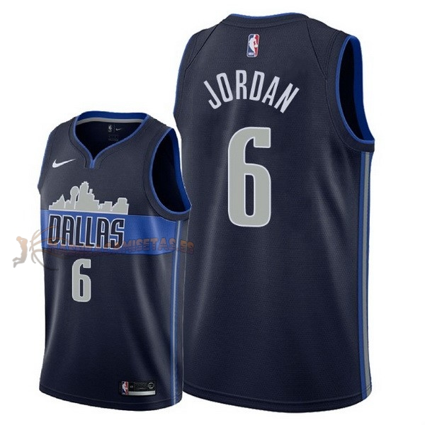 De Alta Calidad Camisetas NBA Nike Dallas Mavericks 6 DeAndre Jordan Negro Statement 2018