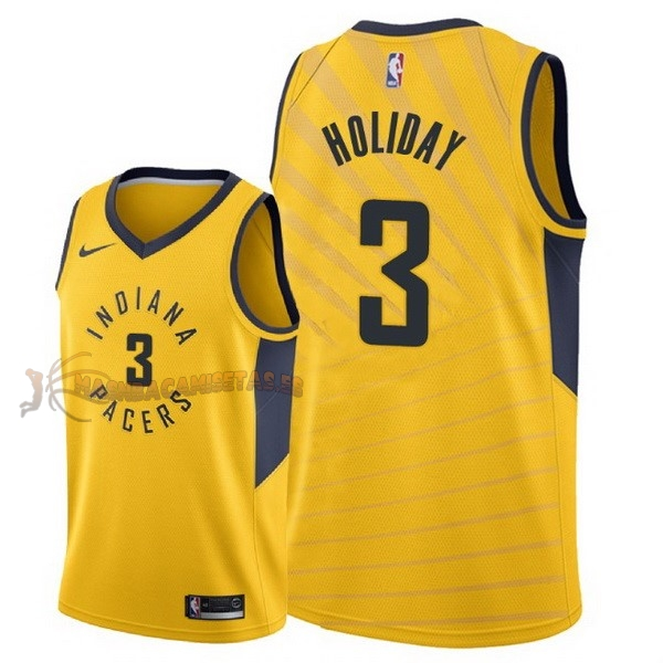 De Alta Calidad Camisetas NBA Nike Indiana Pacers 3 Aaron Holiday Amarillo Statement 2018