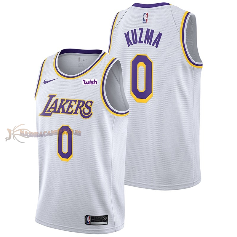 De Alta Calidad Camisetas NBA Nike Los Angeles Lakers 0 Kyle Kuzma Blanco 2018/19
