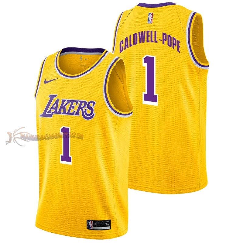 De Alta Calidad Camisetas NBA Nike Los Angeles Lakers 1 Kentavious Caldwell Pope Amarillo Icon 2018/19