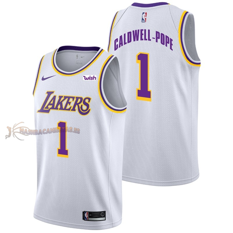 De Alta Calidad Camisetas NBA Nike Los Angeles Lakers 1 Kentavious Caldwell Pope Blanco 2018/19