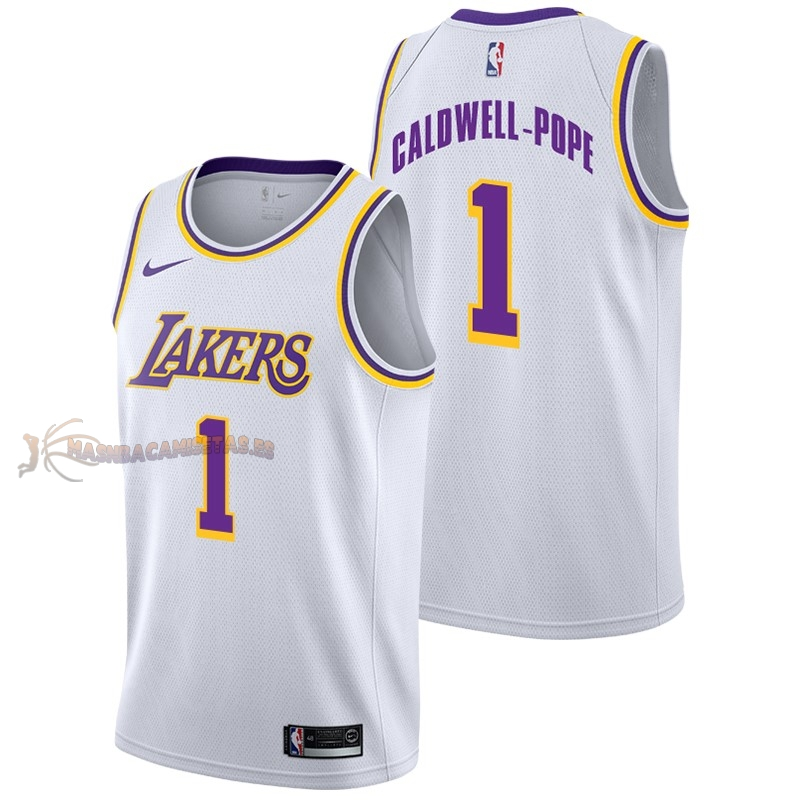 De Alta Calidad Camisetas NBA Nike Los Angeles Lakers 1 Kentavious Caldwell Pope Blanco Association 2018/19
