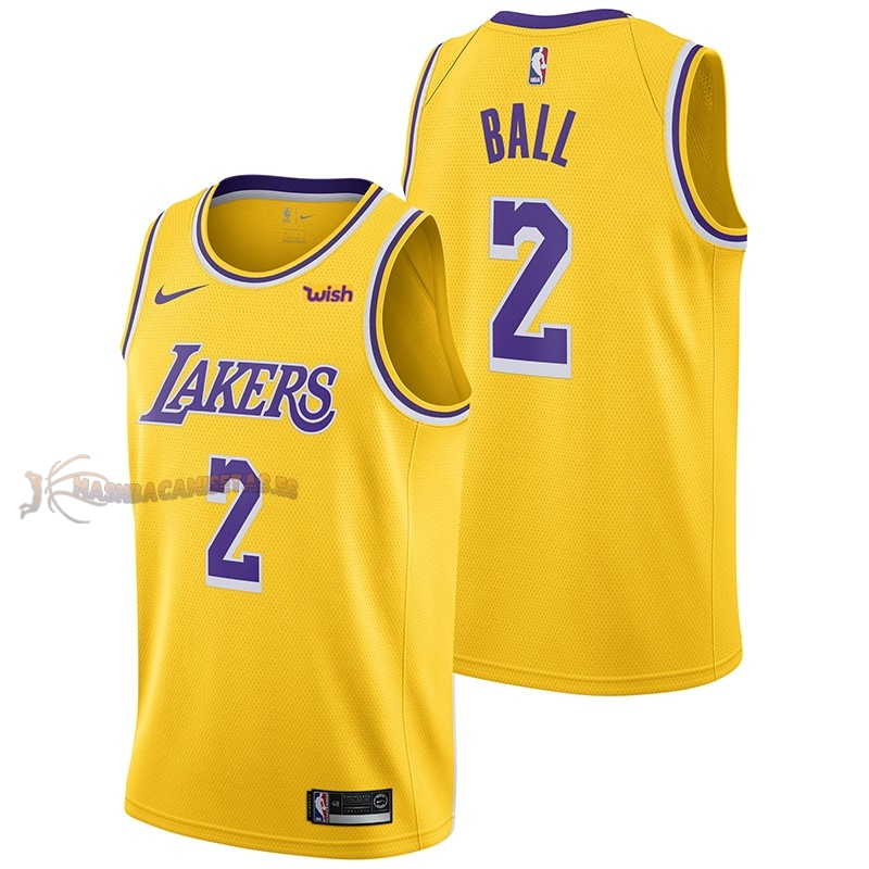 De Alta Calidad Camisetas NBA Nike Los Angeles Lakers 2 Lonzo Ball Amarillo 2018/19