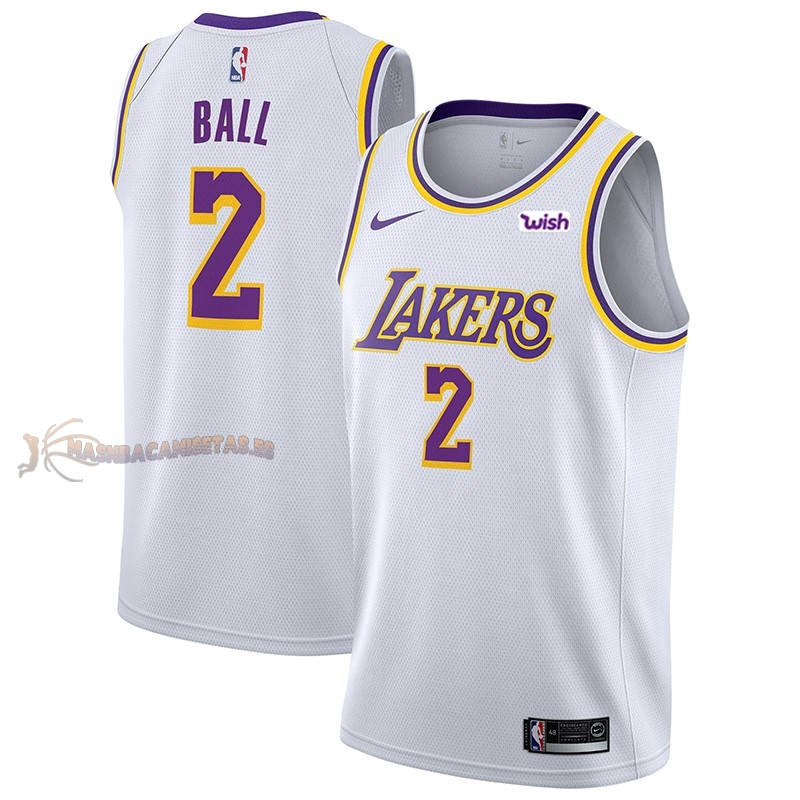 De Alta Calidad Camisetas NBA Nike Los Angeles Lakers 2 Lonzo Ball Blanco 2018/19