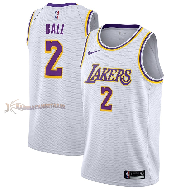 De Alta Calidad Camisetas NBA Nike Los Angeles Lakers 2 Lonzo Ball Blanco Association 2018/19