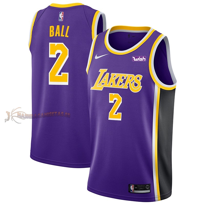 De Alta Calidad Camisetas NBA Nike Los Angeles Lakers 2 Lonzo Ball Púrpura 2018/19