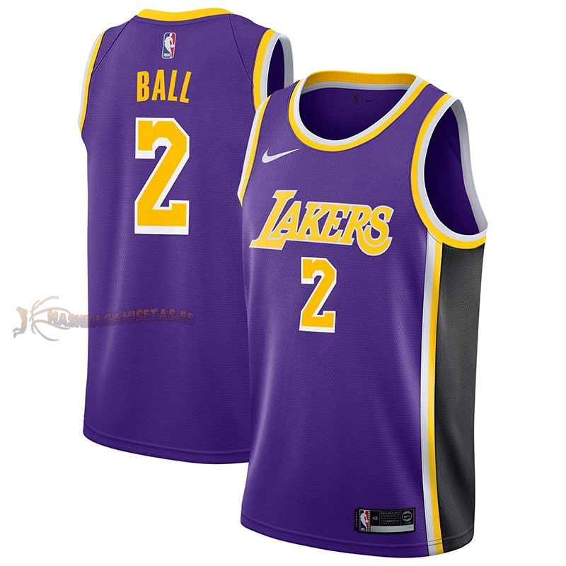 De Alta Calidad Camisetas NBA Nike Los Angeles Lakers 2 Lonzo Ball Púrpura Statement 2018/19