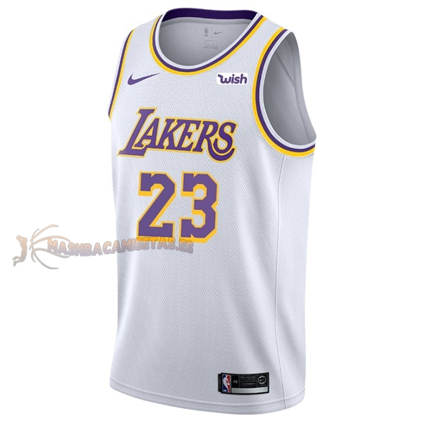 De Alta Calidad Camisetas NBA Nike Los Angeles Lakers 23 Lebron James Blanco 2018/19