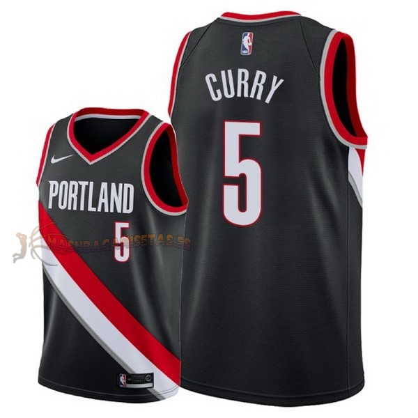 De Alta Calidad Camisetas NBA Nike Portland Trail Blazers 5 Seth Curry Negro Icon 2018