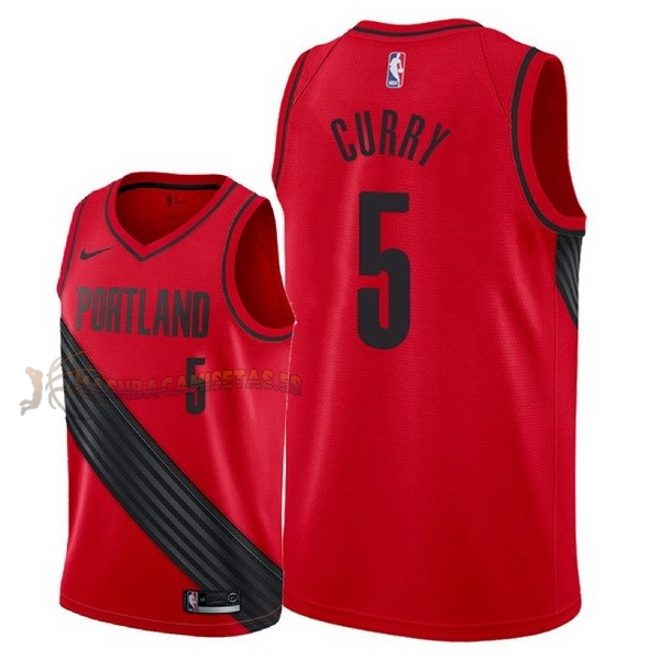 De Alta Calidad Camisetas NBA Nike Portland Trail Blazers 5 Seth Curry Rojo Statement 2018
