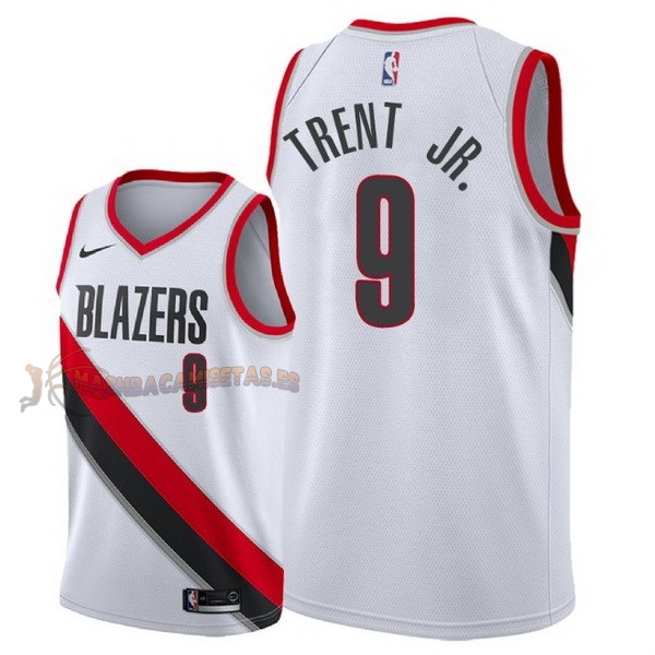 De Alta Calidad Camisetas NBA Nike Portland Trail Blazers 9 Gary Trent Jr Blanco Association 2018