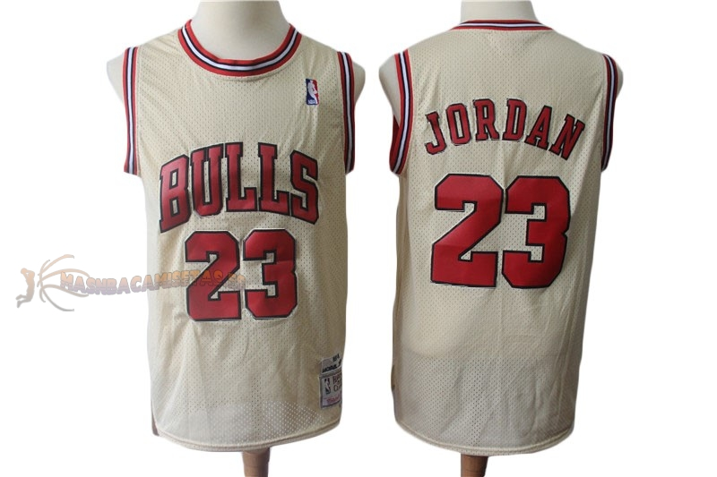 De Alta Calidad Camisetas NBA Chicago Bulls 23 Michael Jordan Retro Crema