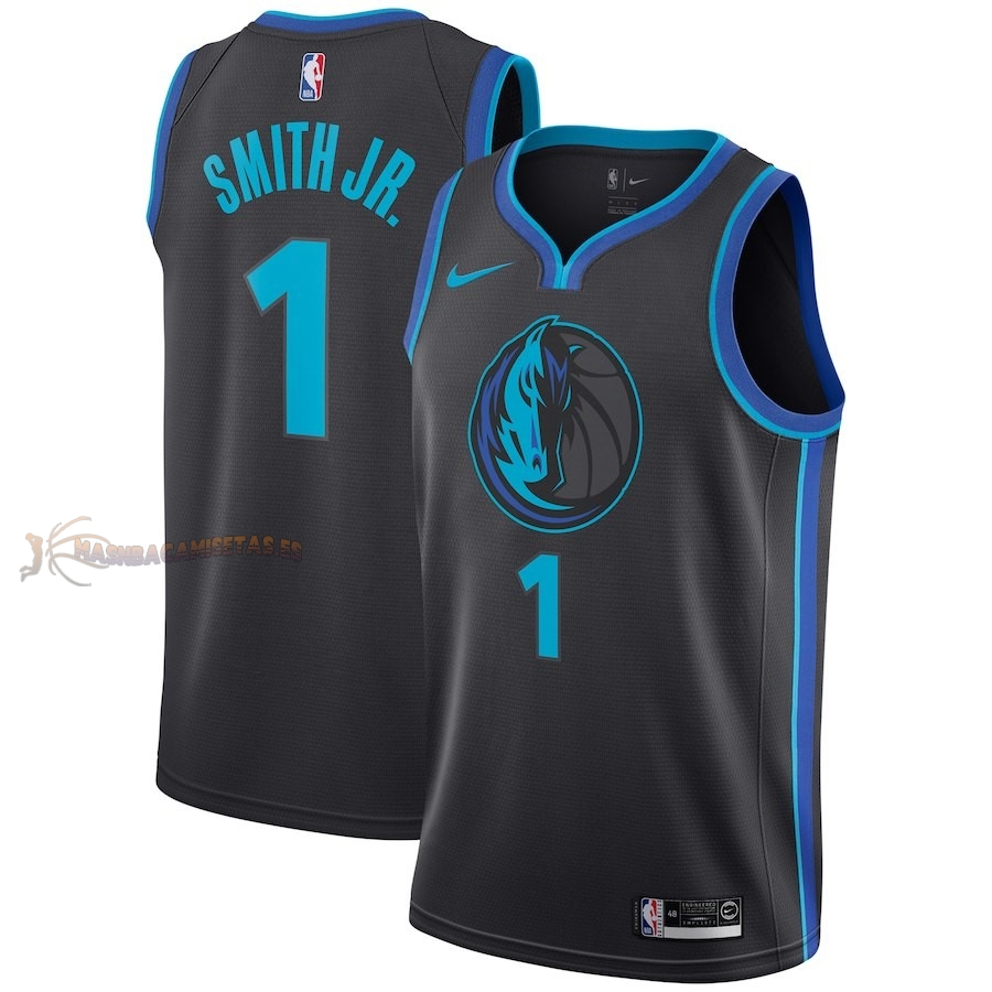 De Alta Calidad Camisetas NBA Dallas Mavericks 1 Dennis Smith Jr Nike Antracita Ciudad 2018-19