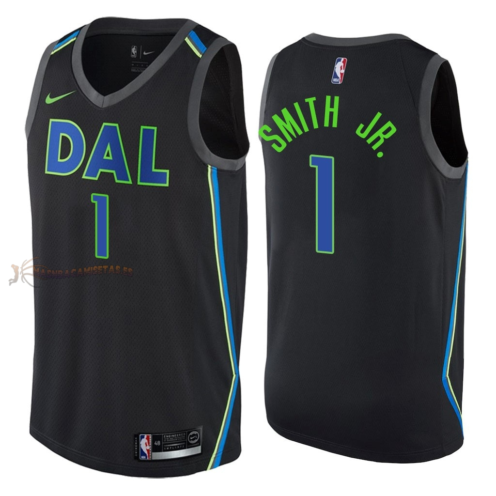 De Alta Calidad Camisetas NBA Dallas Mavericks 1 Dennis Smith Jr Nike Negro Ciudad 2018