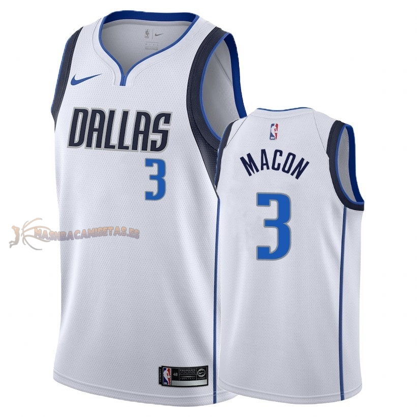 De Alta Calidad Camisetas NBA Dallas Mavericks 3 Daryl Macon Blanco Association 2018