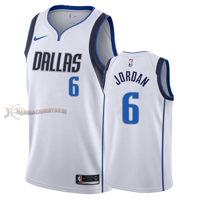De Alta Calidad Camisetas NBA Dallas Mavericks 6 DeAndre Jordan Blanco Association 2018