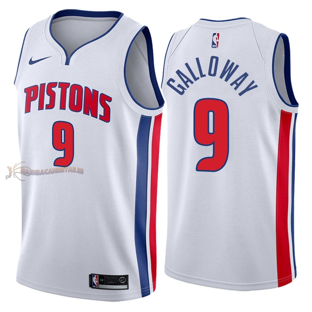De Alta Calidad Camisetas NBA Detroit Pistons 9 Langston Galloway Blanco Association 2018
