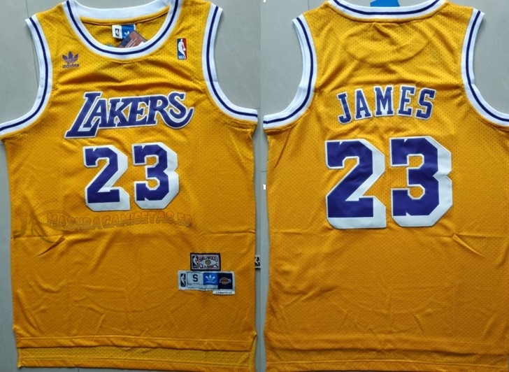 De Alta Calidad Camisetas NBA Los Angeles Lakers 23 Lebron James Retro Amarillo