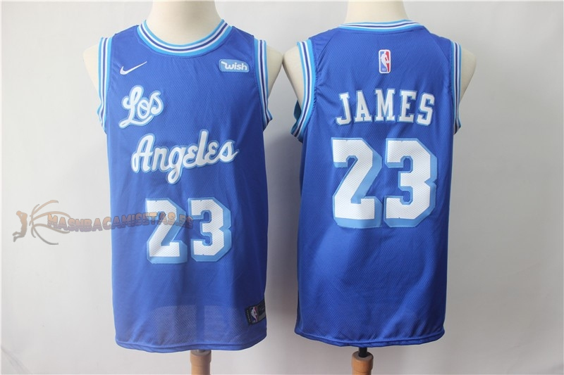 De Alta Calidad Camisetas NBA Los Angeles Lakers 23 Lebron James Retro Azul Blanco 2018