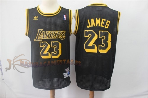 De Alta Calidad Camisetas NBA Los Angeles Lakers 23 Lebron James Retro Negro