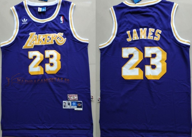 De Alta Calidad Camisetas NBA Los Angeles Lakers 23 Lebron James Retro Púrpura