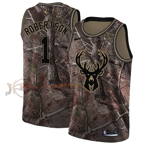 De Alta Calidad Camisetas NBA Milwaukee Bucks 1 Oscar Robertson Camo Swingman Realtree Collection 2018