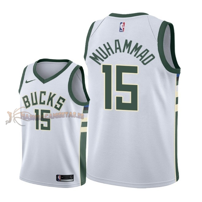 De Alta Calidad Camisetas NBA Milwaukee Bucks 15 Shabazz Muhammad Blanco Association 2018-19