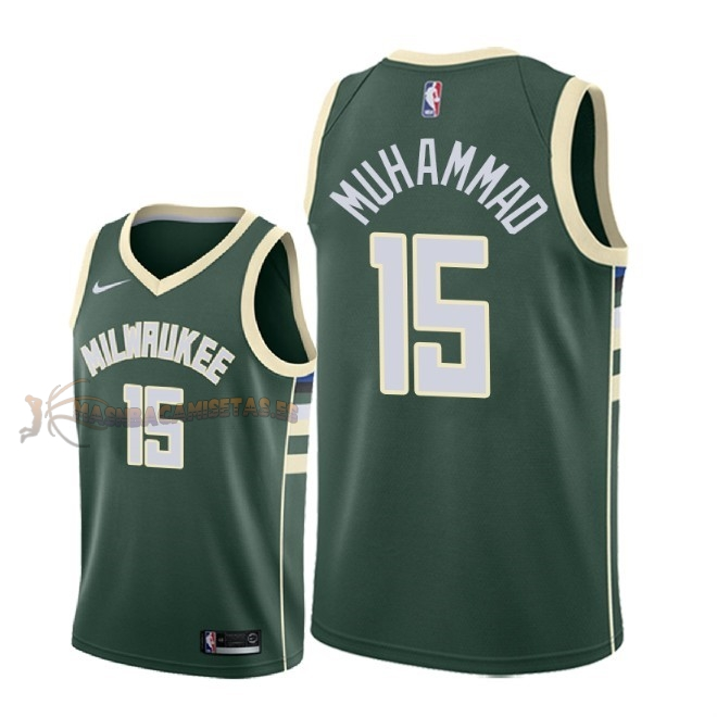 De Alta Calidad Camisetas NBA Milwaukee Bucks 15 Shabazz Muhammad Verde Icon 2018-19
