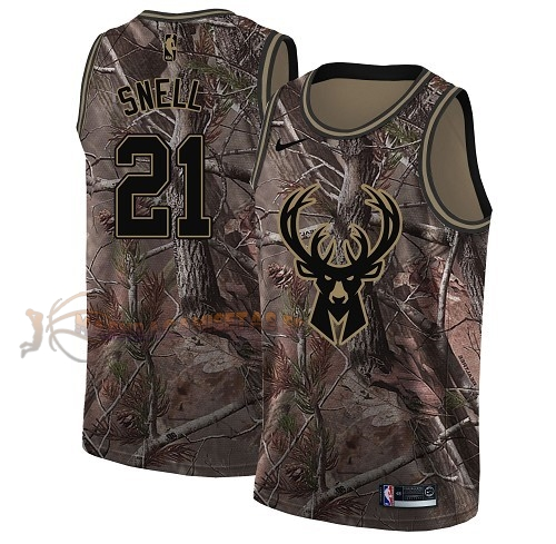 De Alta Calidad Camisetas NBA Milwaukee Bucks 21 Tony Snell Camo Swingman Realtree Collection 2018