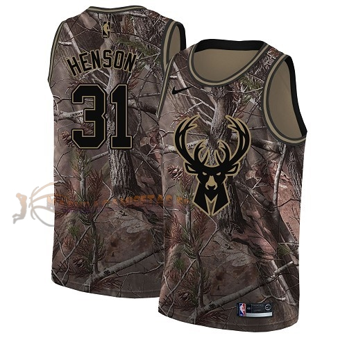 De Alta Calidad Camisetas NBA Milwaukee Bucks 31 John Henson Camo Swingman Realtree Collection 2018