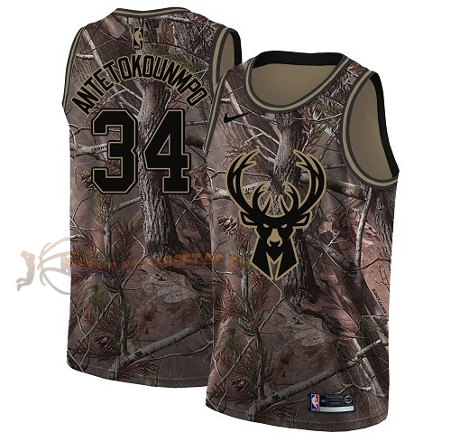 De Alta Calidad Camisetas NBA Milwaukee Bucks 34 Giannis Antetokounmpo Camo Swingman Realtree Collection 2018