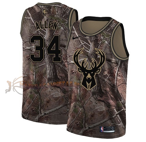 De Alta Calidad Camisetas NBA Milwaukee Bucks 34 Ray Allen Camo Swingman Realtree Collection 2018