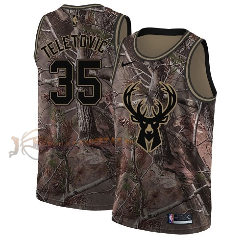 De Alta Calidad Camisetas NBA Milwaukee Bucks 35 Mirza Teletovic Camo Swingman Realtree Collection 2018